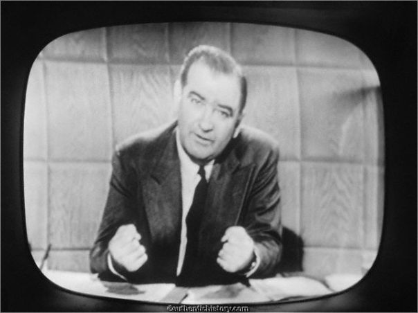 Image result for 1954 – Red Scare: Witnesses begin testifying and live television coverage of the Army–McCarthy hearings begins