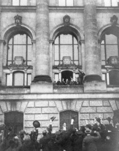 The announcement by Philipp Scheidemann that the Kaiser has abdicated