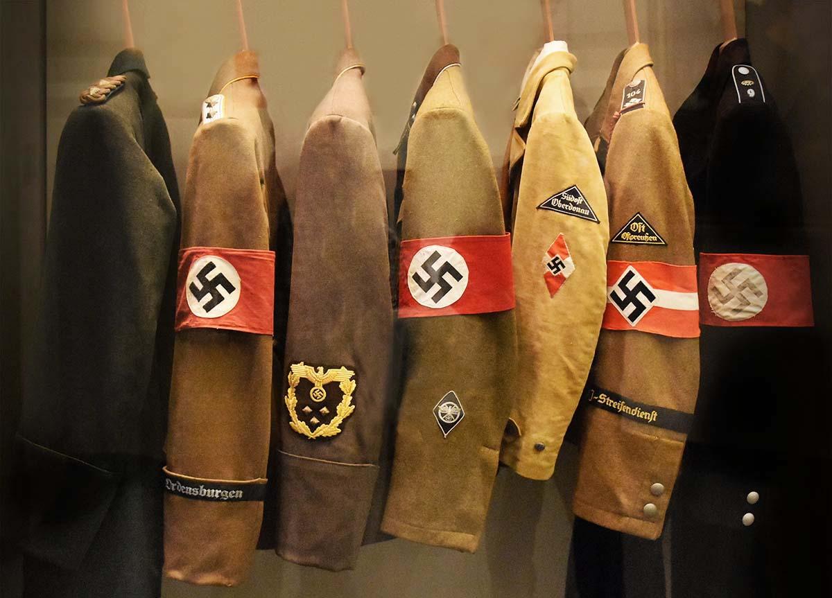 Nazi uniforms in a closet