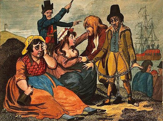 Women in England mourning their lovers who are soon to be transported to Botany Bay, 1792. National Library of Australia