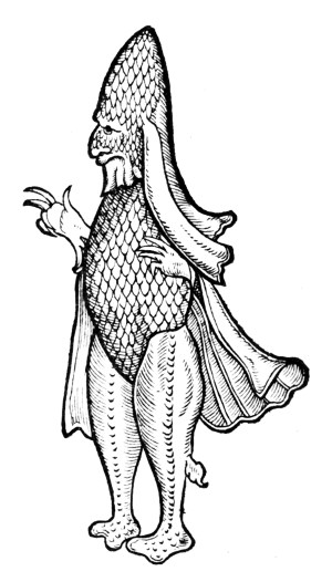 'Caliban - A Man or a Fish', a 16th-century illustration