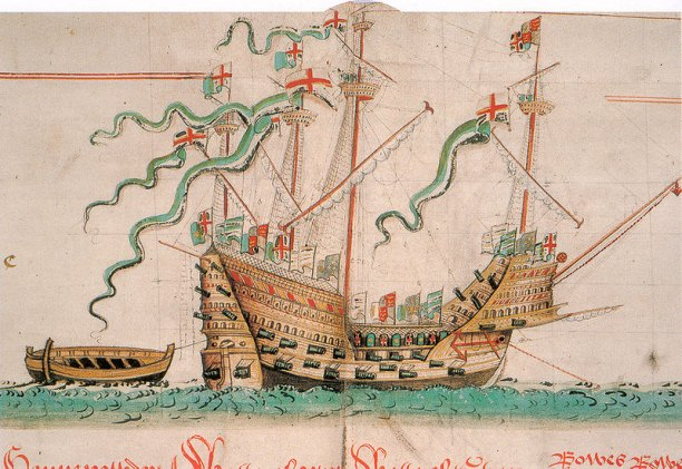 The Mary Rose as depicted in the Anthony Roll. Although the number of guns and gun ports is not entirely accurate, the picture is overall an accurate illustration of the ship.