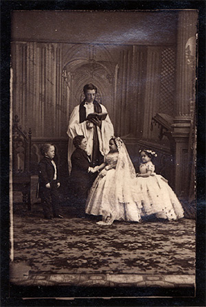 The wedding photo of Charles Sherwood Stratton (Tom Thumb) and Lavinia Warren.