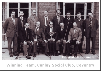 Winning bagatelle team circa late 1950s, Canley Social Club. The author's father is holding the trophy