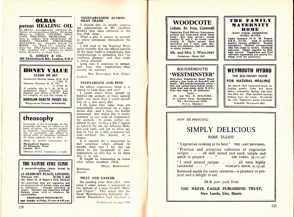 image of the british vegetarian magazine adverts page