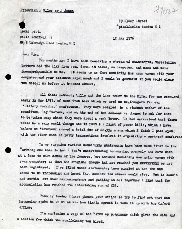 letter from raphael samuel to mills scaffold company regarding the pursuit of unpaid bills during history workshop 10