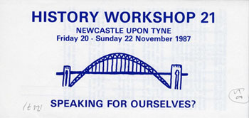 image of the publicity leaflet for history workshop 21