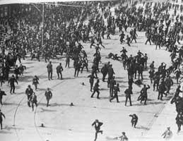 Dublin Metropolitan Police break up a union rally on Dublin's Sackville Street, August 1913