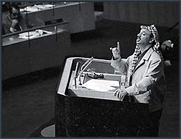 Arafat delivers his famous Gun & Olive Branch speech to the United Nations, Nov. 13, 1974.  Image © 2013, San Francisco Chronicle