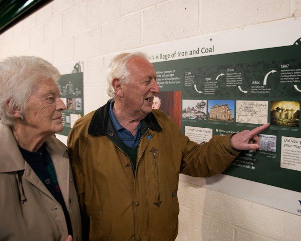 Mr and Mrs Robinson, local historians closely involved in the project, scrutinise draft versions of new interpretation panels to be installed around the village in 2015  (© Barnsley MBC/Chris Sedgewick)