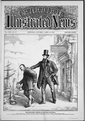 "This political cartoon from the Illustrated Canadian (1879) depicts journalist and politician Amor de Cosmos deporting a Chinese immigrant who ""can't or won't"" assimilate. Available online at TC2."