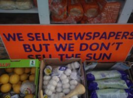 A sign outside a grocers in Liverpool, 2015 (author's picture)
