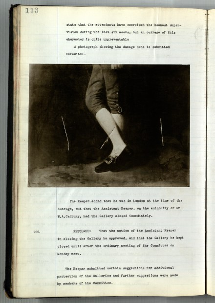 Pages 113-114 of minute book. Contains minute 268 relating to the slashing of a picture on loan to the institution by a suffragette Bertha Ryland, includes photograph of slashed painting. Reference: BCC 1/BG/1/1/1. Date: 10 June 1914