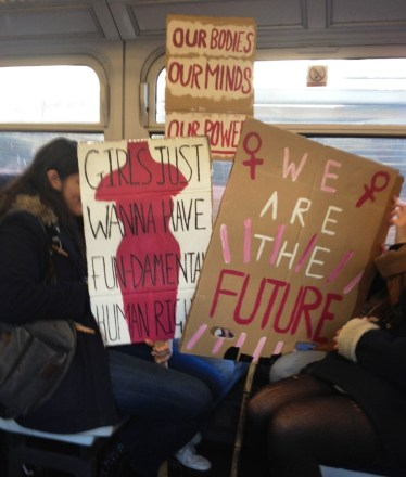 Women's March train to Charing Cross
