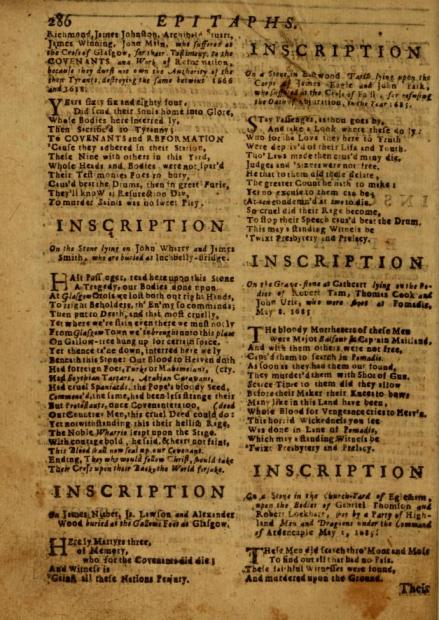 A page from A Cloud of Witnesses showcasing the inscriptions from gravestones. Source: A Cloud of Witnesses for the Royal Prerogatives of Jesus Christ (1714)