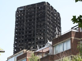 Image of Grenfell Tower, 25 May 2017. Courtesy Hannah Elias.