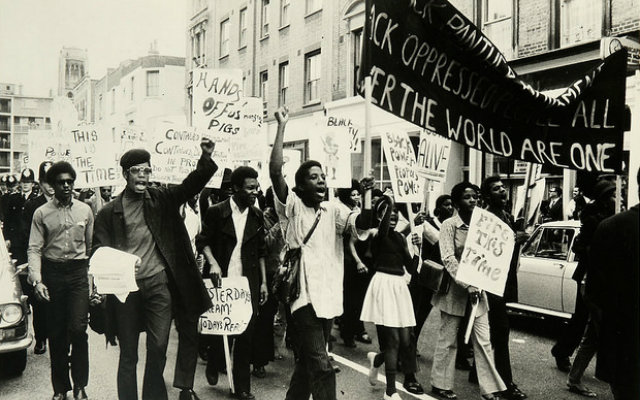 Protesters against police brutality and racism at the centre of the Mangrove Nine trial, 1970. The National Archives, Catalogue reference: MEPO31/21 (3)