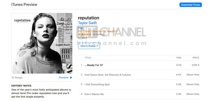 Taylor Swift - reputation - iTunes gr - Hit Channel