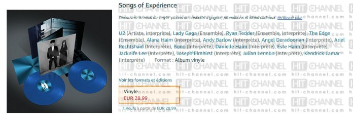 U2 - Lady Gaga - Songs of Experience - Amazon France - Hit Channel