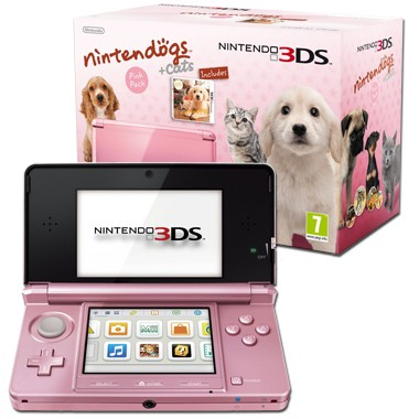 nintendo 3ds coral pink console bundle with nintendogs and cats golden retriever from hitari
