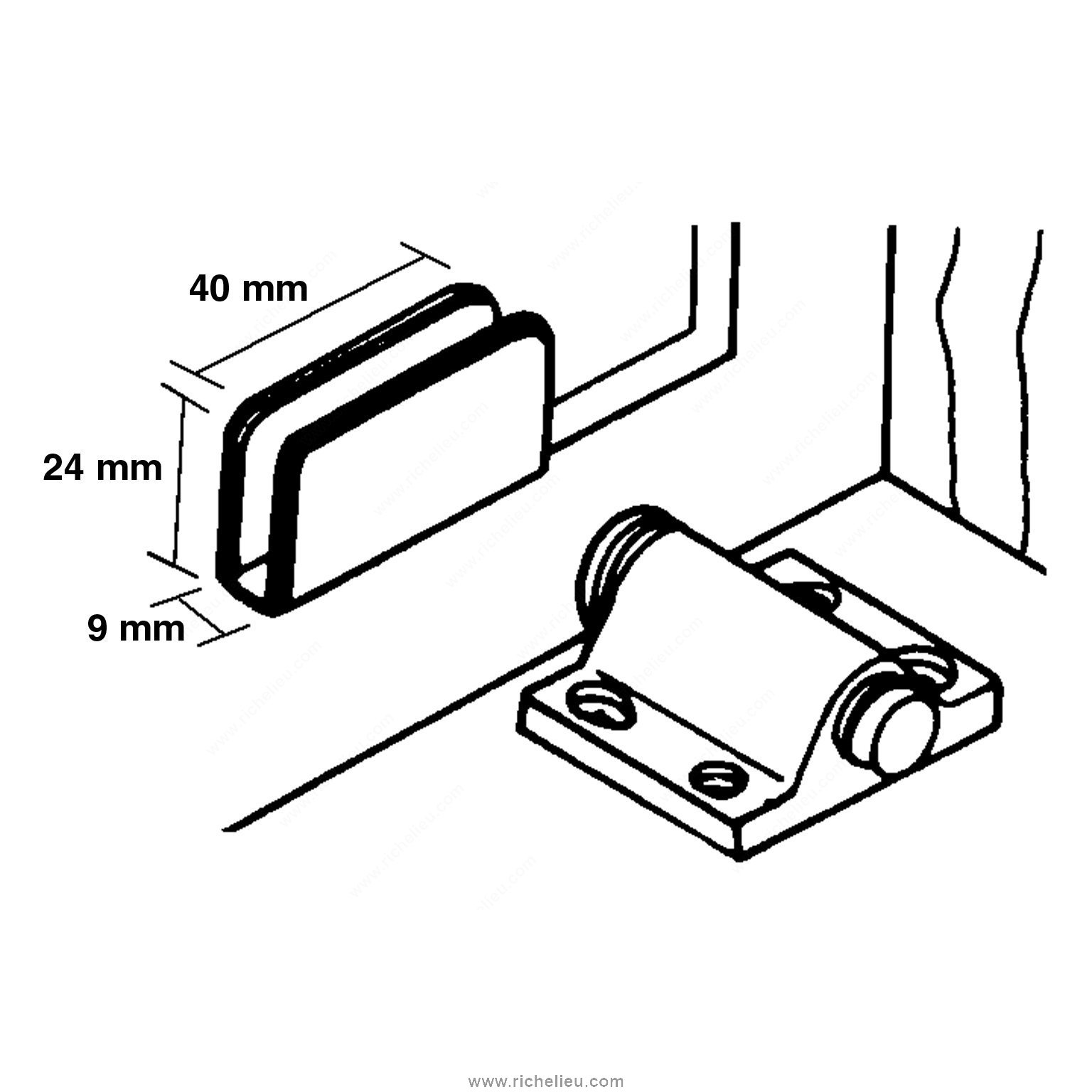 Plate For Spring Magnetic Latch For Glass Door
