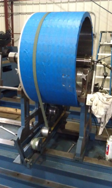 Permanent magnet rotor sits in our custom 2500 pound balancer.