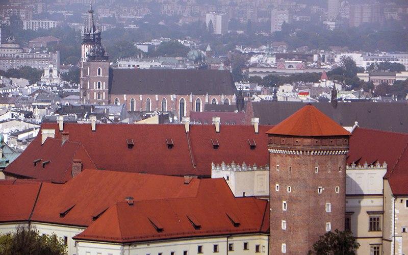 Vue aérienne de la vieille ville de Cracovie