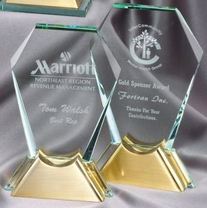 """Hexagon Glass Award With Gold Metal Base, 9"""" tall, gl46, weighs 2.25 lbs"""