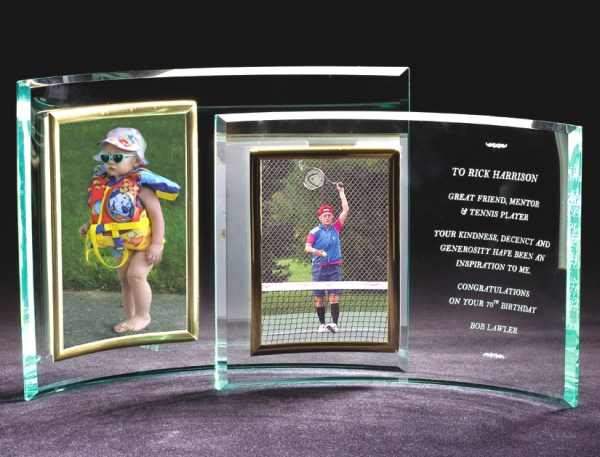 Vertical Glass Crescent Picture Frame-0