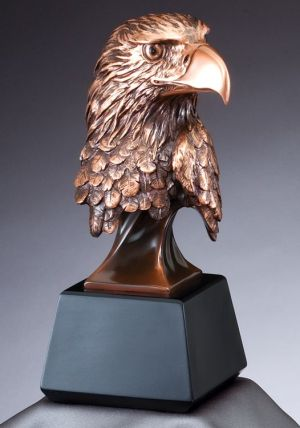 "Bronze eagle head statue on black base, RFB535 is 8"" tall, Weighs 2.5 lbs"