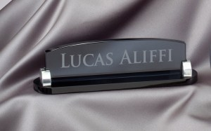 Smoked Glass Desk Name Plate