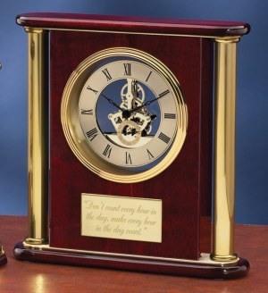 Gold Pillar Rosewood Clock 3801G