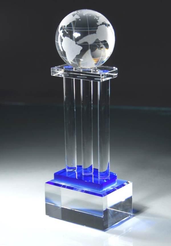 Crystal Globe Trophy On Pillars CRY154
