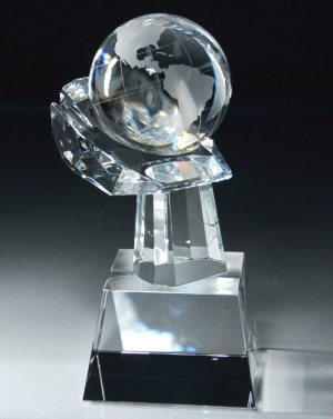 CRY75 World in your Hand Crystal Globe