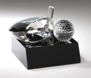 Crystal Golf Club Head And Ball Award CRY305