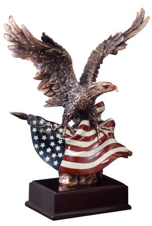 "Bronze eagle statue holding American flag mounted on dark wood base, RFB110 is 10.25"" tall, Weighs 3 lbs"