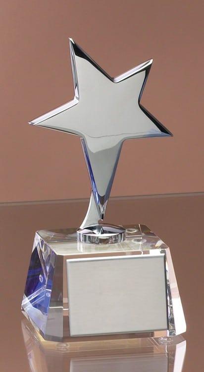 Silver Star Clear Crystal Trophy-4159