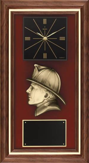 Bronze Firefighter Walnut Clock