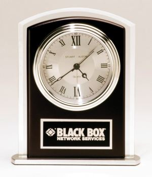 Rosewood & Silver Glass Clock BC965