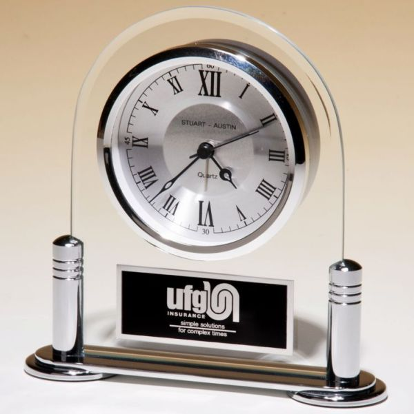 Silver Glass Clock BC999