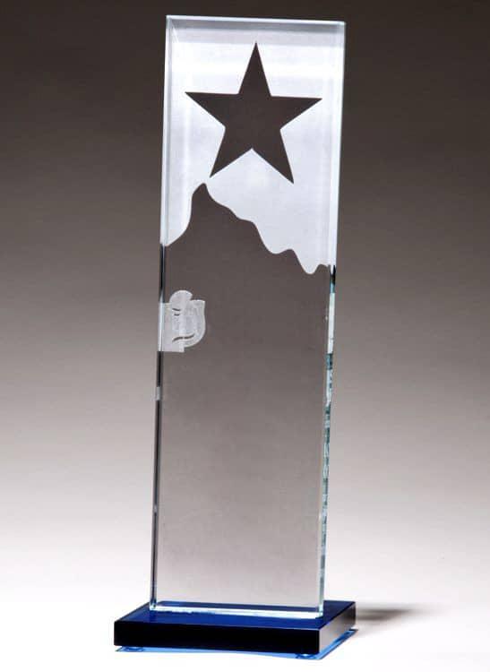 G2883 Star & Mountain Glass Trophy-blank