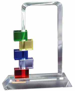 "Clear glass piece for engraving personalization with colored blocks on the side, GL73, 7"" tall, Weighs 2.4 lbs"