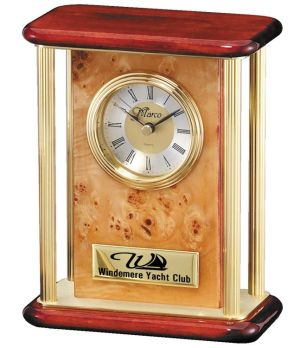 RWB01 Burlwood Gold Pillar Clock
