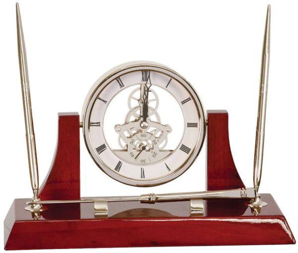 EX108 Silver Clock Desk Set