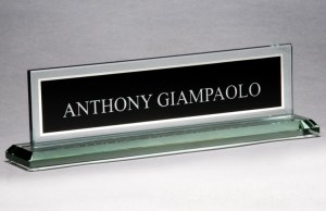 G2788 Black Glass Name Plate