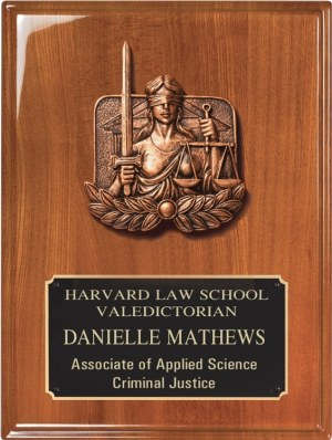 """Bronze lady justice collage & engraving plate mounted on walnut plaque, WP236E is 9"""" x 12"""" Size, Weighs 3 lbs."""