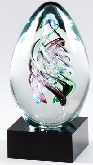 "Glass egg with colors swirled inside, mounted on a black glass base, glsc48, 6"" tall, weighs 3.3 lbs"
