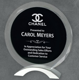 Round glass award with black center for engraving, mounted on silver metal base, packaged in deluxe gift box, 3 sizes