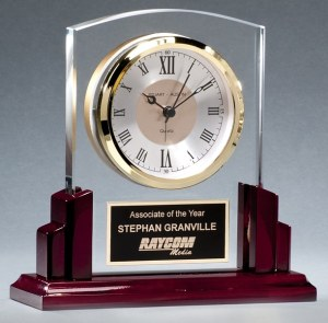 BC1028 Rosewood Glass Clock