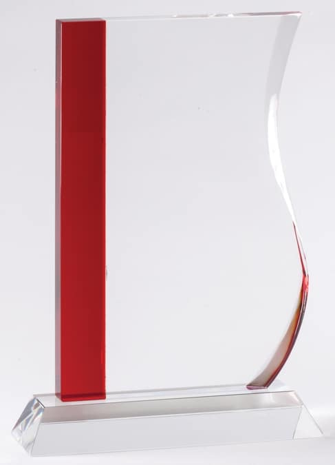CRY597 Red Wave Crystal Award